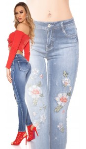 CurvyGirlsSize!Sexy Jeans embroidery & rhinestones Jeansblue