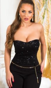 Feest uitgaans pailletten bandeau jumpsuit zwart