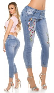 Sexy Light Denim with embroidery and rivets Jeansblue