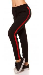 Trendy thermische joggingbroek met contrast strepen roodgroen