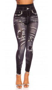 Sexy Highwaist Jeanslook Leggings Black