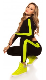 Trendy Workout-Outfit Crop Hoody & Leggings Neonyellow