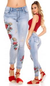 Sexy skinny jeans met bloemen-print borduurwerk jeansblauw