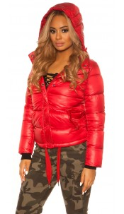 Trendy Winterjacket with removable hood Red