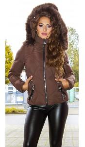 Sexy winter jacket w. fakeLacing + detachable hood Brown