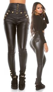Sexy Highwaist Leather look pants Black