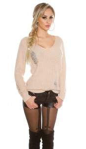 Knit sweater Destroyed Look Beige