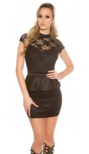 Sexy KouCla minidress with lace and peplum Black
