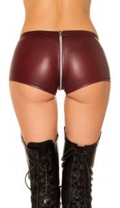 Sexy KouCla Gogo Leatherlook Hot Pants Bordeaux
