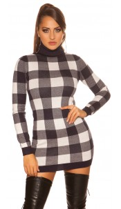 Sexy KouCla checkered Turtleneck Mini Dress Navy