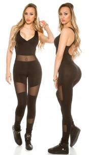 Trendy sports jumpsuit met gaasstof zwart