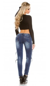 Sexy Skinny Jeans with Sexy Lacing Jeansblue
