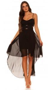 Sexy KouCla high low dress with sexy insight Black