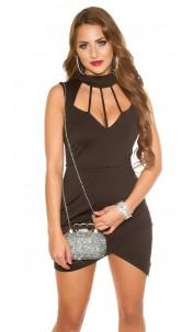 Sexy KouCla Neck Mini dress Sling Dekolleté Black