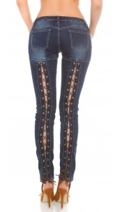 Sexy KouCla PuSH UP Skinny jeans with lacing Jeansblue