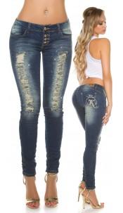 Sexy KouCla Used-Look skinnies with rhinestones Jeansblue