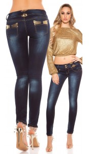 Sexy skinnies with sequin bows Gold