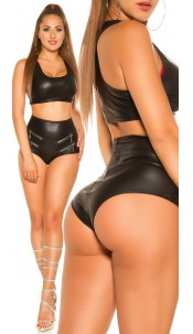 Sexy KouCla wetlook hot pants with zips Black