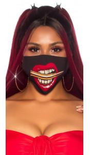 Trendy wasbaar gezicht mond masker met print zwart