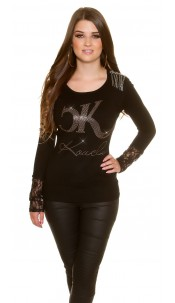 Trendy Koucla fine knit pullover with lace Black