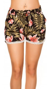 Sexy summer shorts with lace & print Black