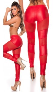 Sexy Koucla leggings with net-applications Red