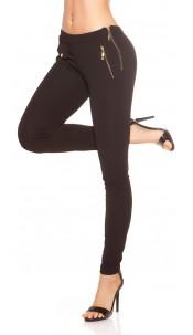Trendy Koucla skinny business pants with zipp Black