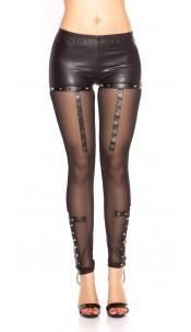 Sexy KouCla Wetlook Leggings with mesh & rivets Black