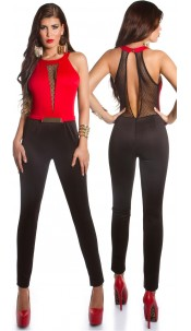 Sexy party jumpsuit with lace and gold buckle Red