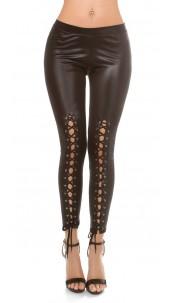 Sexy Wetlook Leggings with lacing Black