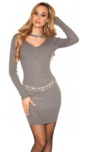 Sexy rib knit mini dress with rhinestones Darkgrey