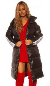Trendy Long Winter jacket with hood Black