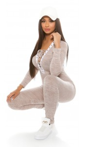Trendy Koucla Fineknit jumpsuit with lacing Cappuccino