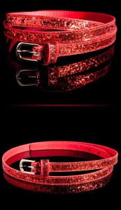 Trendy riem met glitter rood