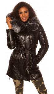 Trendy Winter Longjacket WITH hood, fur removable Black