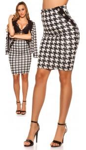 Sexy KouCla pencil skirt in houndstooth pattern Blackwhite