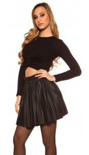 Sexy pleated mini skirt in leather look Black