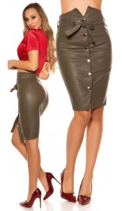 Sexy leatherlook pencil skirt with belt buttoned Khaki