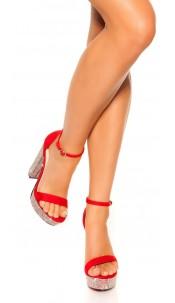 Sexy High Heel Plateau sandals w. rhinestoneheel Red