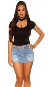 Sexy KouCla Basic Crop Shirt Black