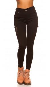 Sexy Highwaist cargo skinny jeans Black