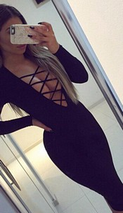 Dress with lace-look Black
