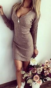 Minidress with Zipper Gray