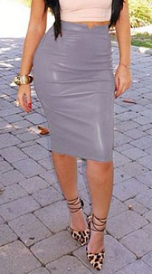Faux-Leather Skirt Gray