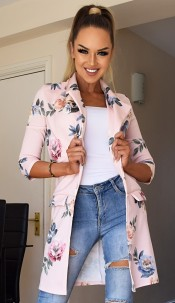 Parina Floral Longline Jacket Nude