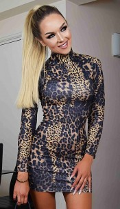 Bella Leopard High Neck Dress Brown
