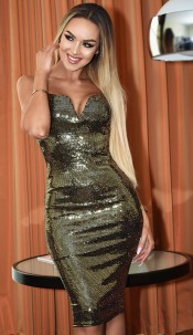 Isabel Sequin Bodycon Dress Gold