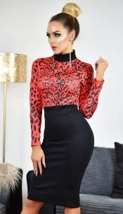 Maddie Animal Print Contrast Dress Red