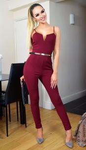 Rhea Belted Jumpsuit Wine