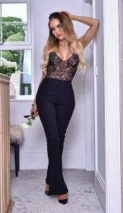 Kira Bandage Flared Trousers Black